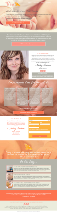 one page doula website template