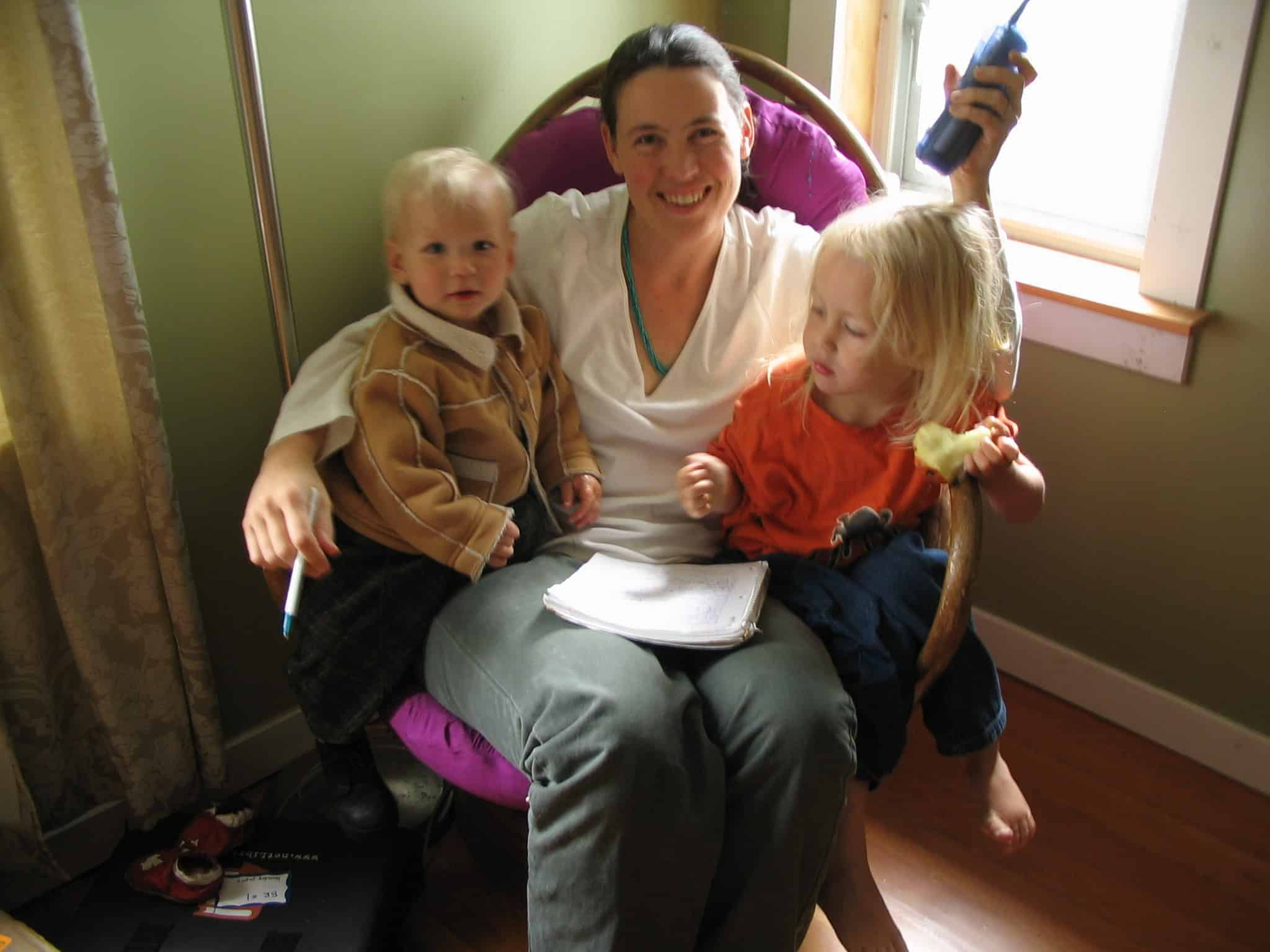 Here I am in 2005 managing my childbirth ed & doula practice with a massive phone, paper and pen. And 2 littles in my lap... Looking back on this photo now I think I'm look pretty awesome given my likely state of sleep deprivation.
