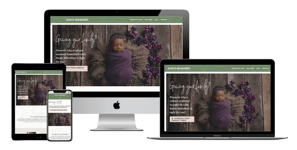 Homebirth Midwife Website Design